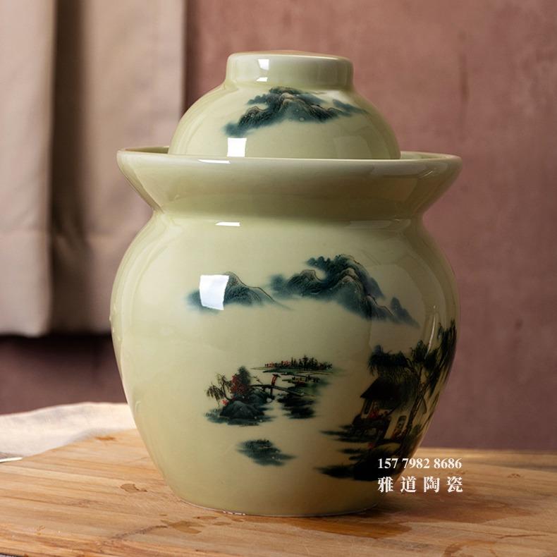 景德镇青釉山水腌菜蛋泡菜坛子