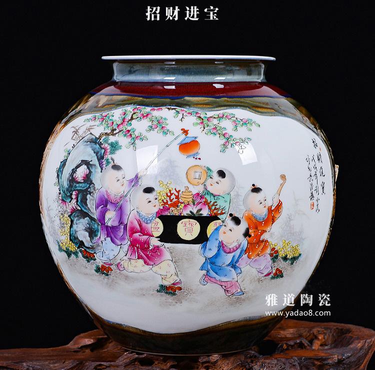 大师手绘双面陶瓷花瓶家居摆设招财进宝