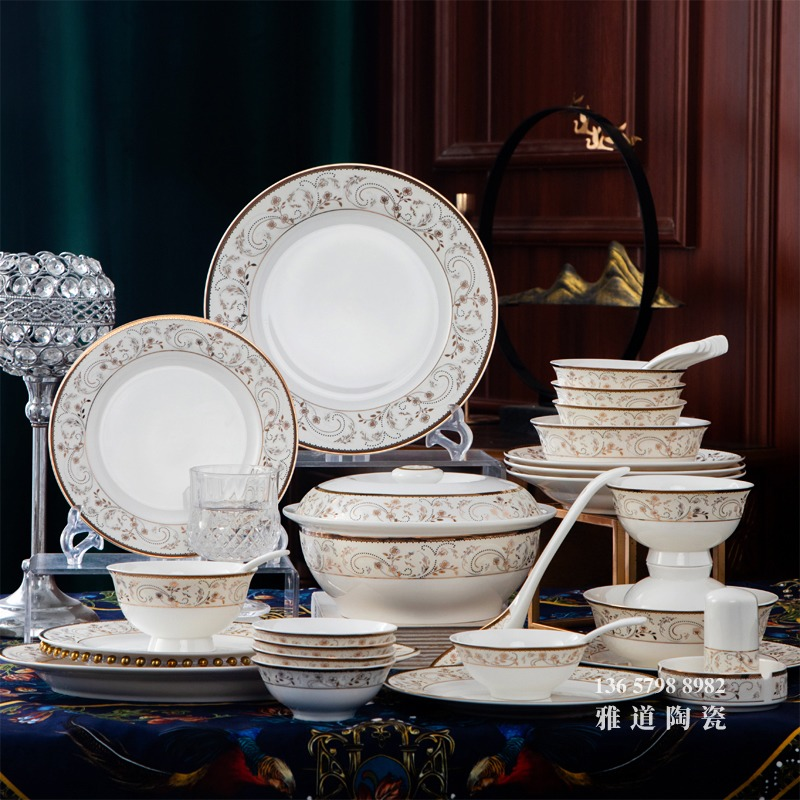 景德镇58头骨瓷餐具套装(珠联碧合)