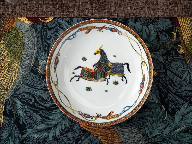 56头爱马仕欧式精美骨瓷餐具套装