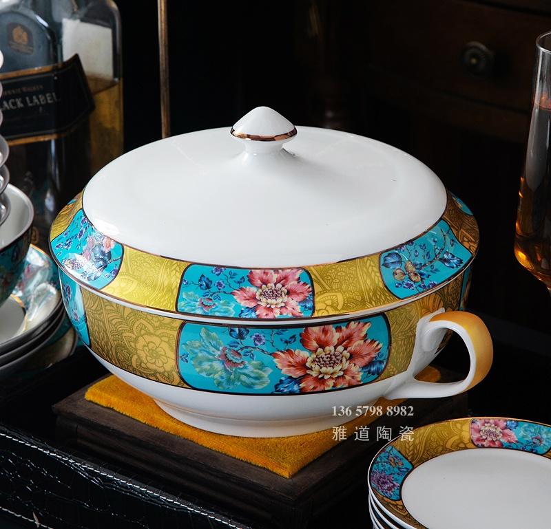 高档欧式骨质瓷餐具套装(鸟语花香)