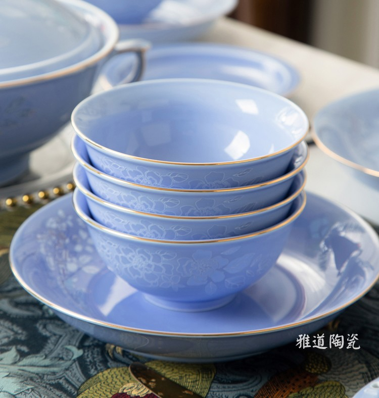 34头景德镇高档中式餐具套装(宫廷紫)