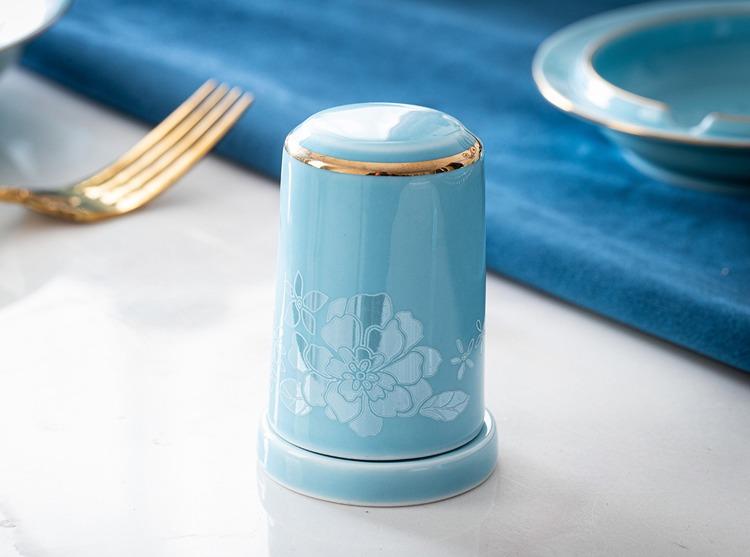 景德镇家用青瓷精品餐具套装(粉青色)