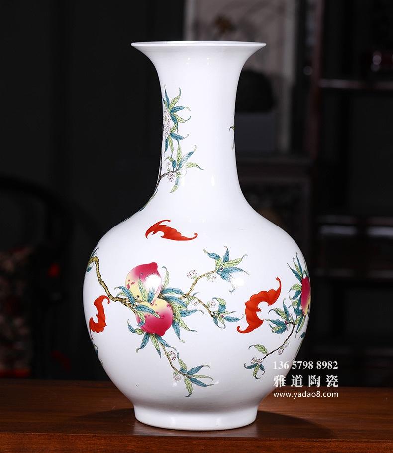 仿乾隆九桃图景德镇陶瓷花瓶家居摆件