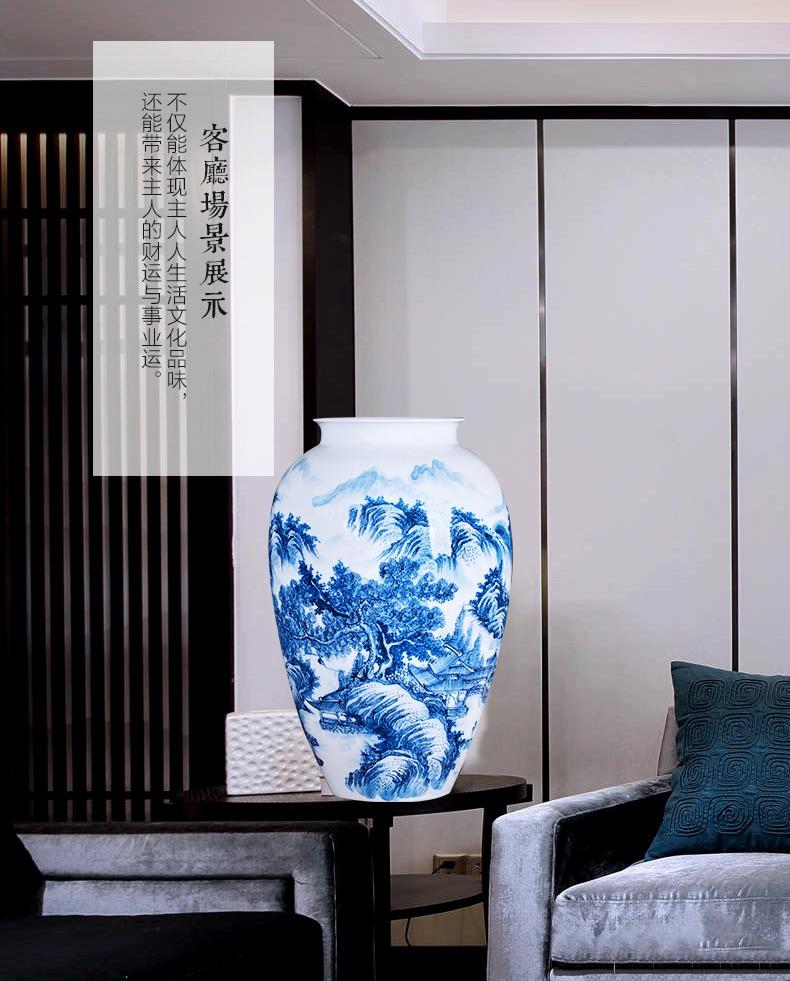 名家少秋手绘山水青花瓷花瓶客厅摆件