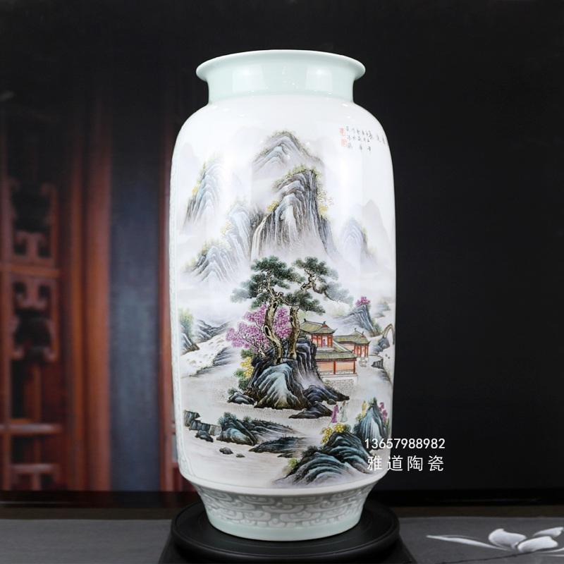 名家手绘粉彩山水双面艺术花瓶