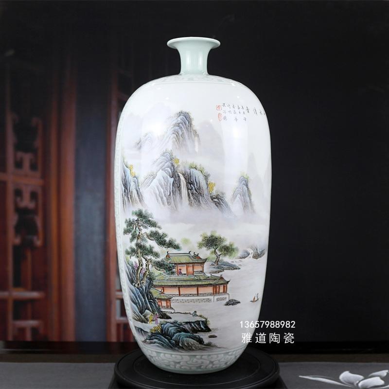 名家李炎华手绘粉彩陶瓷艺术花瓶