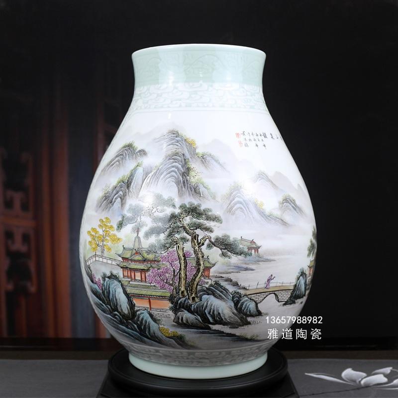 景德镇陶瓷大师李炎华手绘艺术瓷花瓶