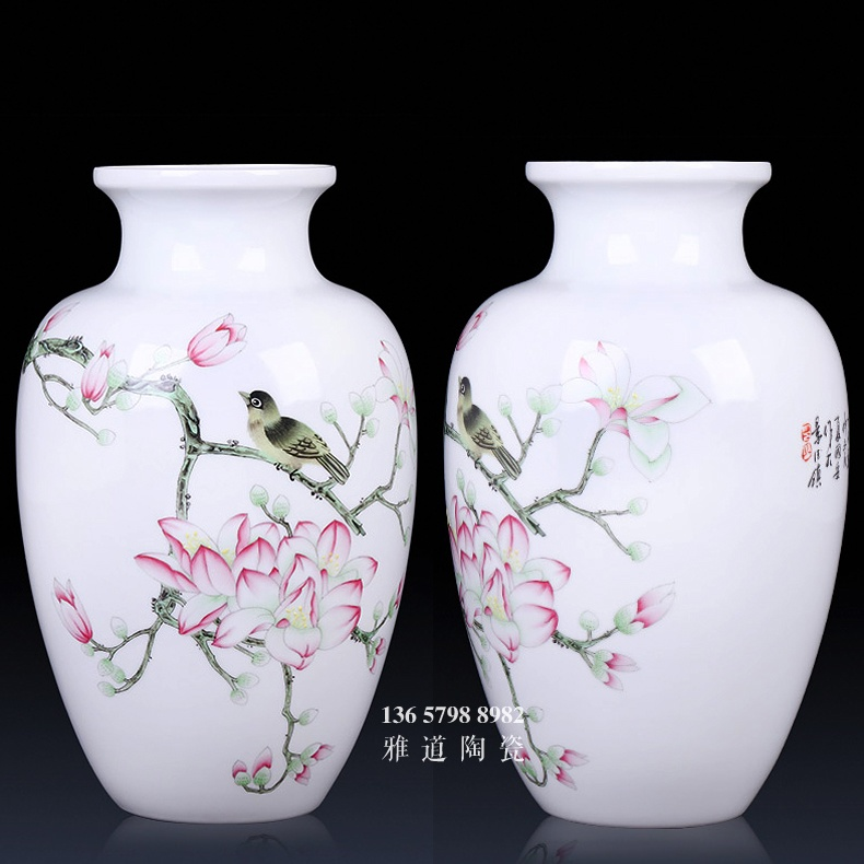 景德镇陶瓷名家大师手绘薄胎花瓶中式客厅摆件