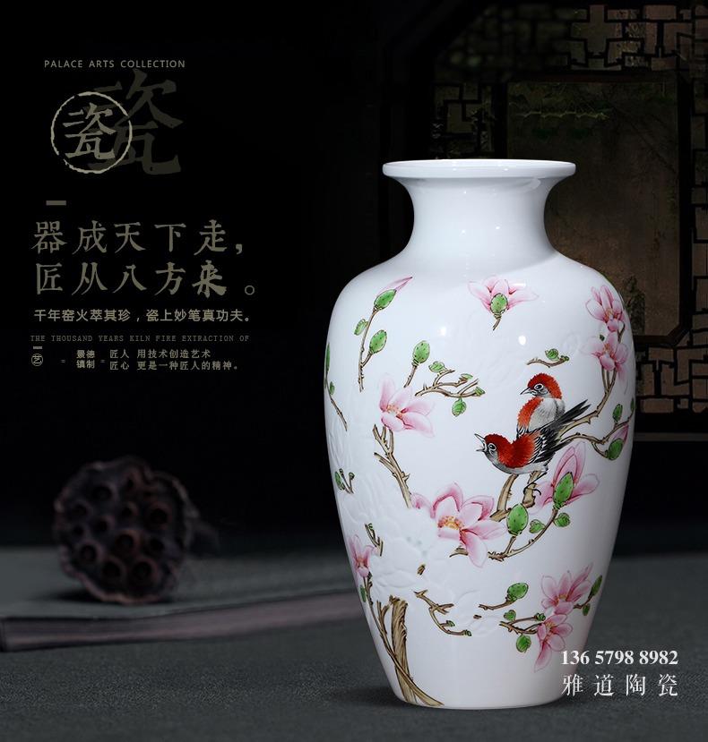 名家手绘薄胎雕刻艺术花瓶(玉堂富贵)